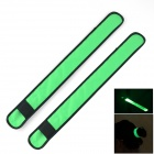 Outdoor Sports 3-Mode Flashing LED Warning Strap Arm Band - Green + Black (1 x CR2032 / 2 PCS)