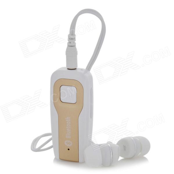 Bluetooth V4.0 Music Headset Receiver w/ Earphone - White + Champagne