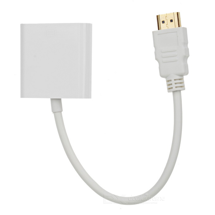 HDMI to VGA Adapter w/ 3.5mm Jack + 3.5mm Male to Male Cable - White