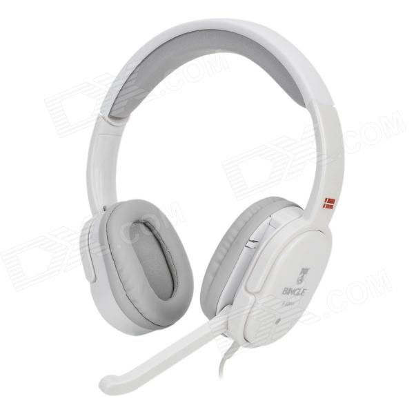Bingle B-830-H 3.5mm Plug Headband Headphone w/ Microphone / Remote - White