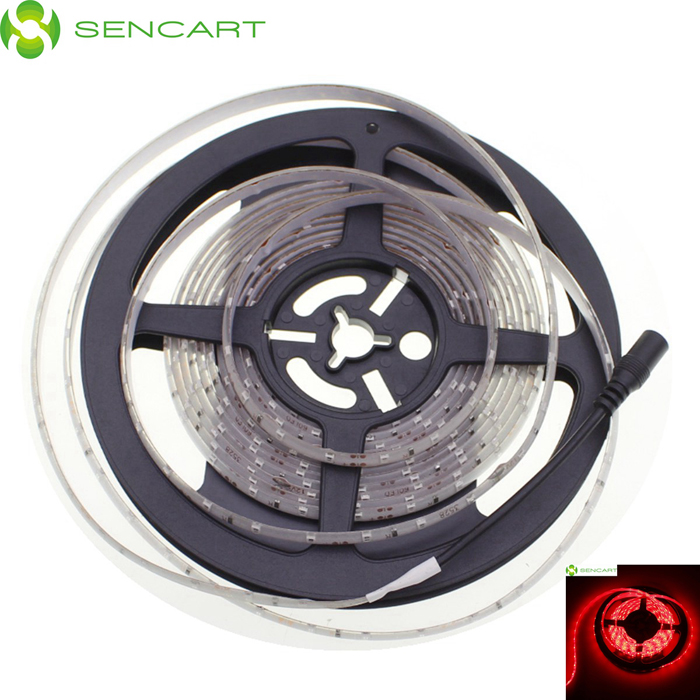 SENCART Waterproof 12W 50lm 621-700nm 300-SMD 3528 LED Red Light Strip - White (DC 12V / 5M)