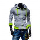 Winter Fashionable Men's Casual Zipper Cotton Hoodie Sweater - Light Grey (L)