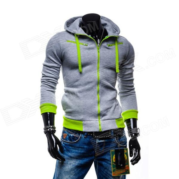 Winter Fashionable Men's Casual Zipper Cotton Hoodie Sweater - Light Grey (XL)