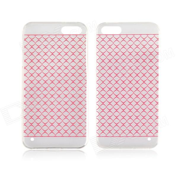 Angibabe 0.3mm Plaid Pattern Protective TPU Back Case for IPHONE 4 / 4S - Red + Transparent blue butterfly design кожа pu откидной крышки кошелек для карты памяти чехол для alcatel one touch pop c9