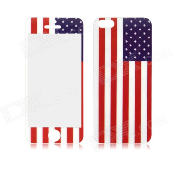 USA Flag Pattern Front and Back Tempered Glass Protectors Set for IPHONE 5 / 5S front and back tempered glass protectors set for iphone 5 5s camouflage green
