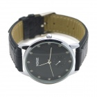 MIKE 8207 Men's Business Casual Stainless Steel Case PU Band Quartz Analog Wrist Watch - Black
