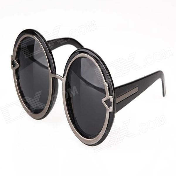 GH-109 Women's Fashion Retro UV400 Protection Round Zinc Alloy Frame PC Lens Sunglasses - Black