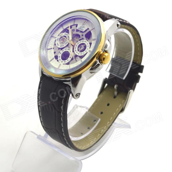 Shenhua 9587 Men's Skeleton PU Band Automatic Mechanical Analog Wrist Watch - Golden + Silver