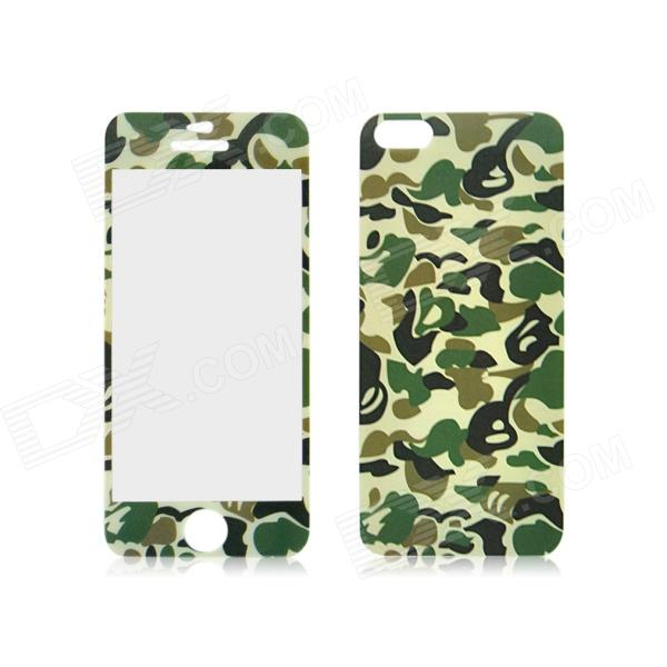 Front and Back Tempered Glass Protectors Set for IPHONE 5 / 5S - Camouflage Green front and back tempered glass protectors set for iphone 5 5s camouflage green