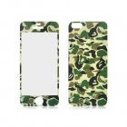 Front and Back Tempered Glass Protectors Set for IPHONE 5 / 5S - Camouflage Green