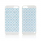 Angibabe 0.3mm Plaid Pattern Protective TPU Back Case for IPHONE 4 / 4S - Blue + Transparent