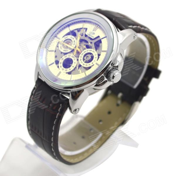 Shenhua 9587 Men's Skeleton PU Band Automatic Mechanical Analog Wrist Watch - Silver + Black