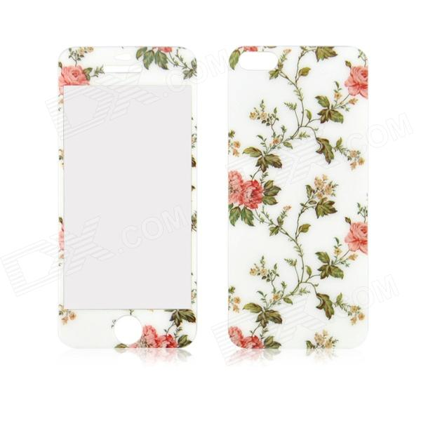 Peony Pattern Front and Back Tempered Glass Protectors Set for IPHONE 5 / 5S front and back tempered glass protectors set for iphone 5 5s camouflage green