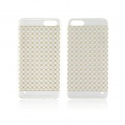 Angibabe 0.3mm Plaid Pattern Protective TPU Back Case for IPHONE 4 / 4S - Yellow + Transparent