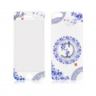 Blue and White Porcelain Pattern Front and Back Tempered Glass Protector for IPHONE 5 / 5S