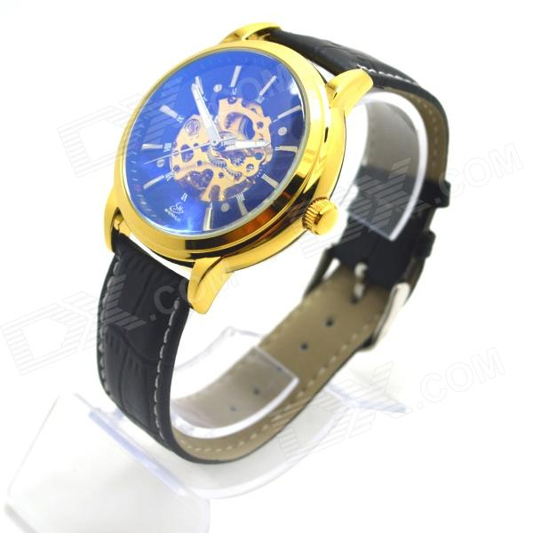Shenhua 3952 Men's Skeleton PU Band Automatic Mechanical Analog Wrist Watch - Golden + Black
