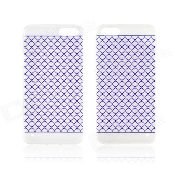 Angibabe 0.3mm Plaid Pattern Protective TPU Back Case for IPHONE 4 / 4S - Purple + Transparent glossy tpu gel back protection case for iphone 7 plus light purple