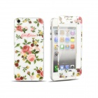 Camellia Pattern Front and Back Tempered Glass Protectors Set for IPHONE 5 / 5S