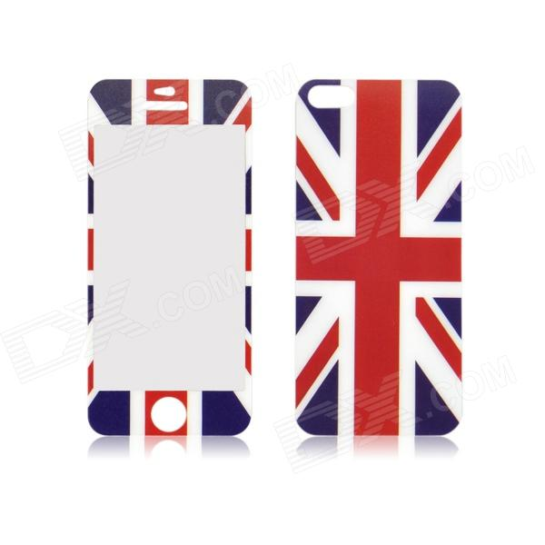 UK Flag Pattern Front and Back Tempered Glass Protectors Set for IPHONE 5 / 5S front and back tempered glass protectors set for iphone 5 5s camouflage green