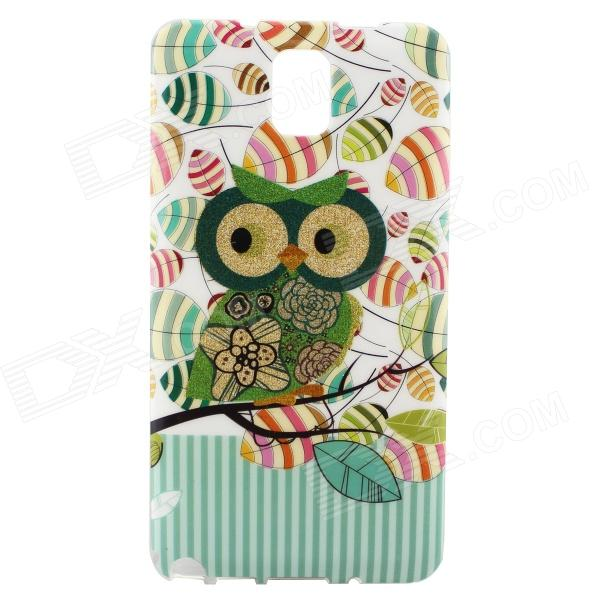 Owl Pattern Protective Plastic Back Case for Samsung Galaxy Note 3 N9000 - White + Multicolored