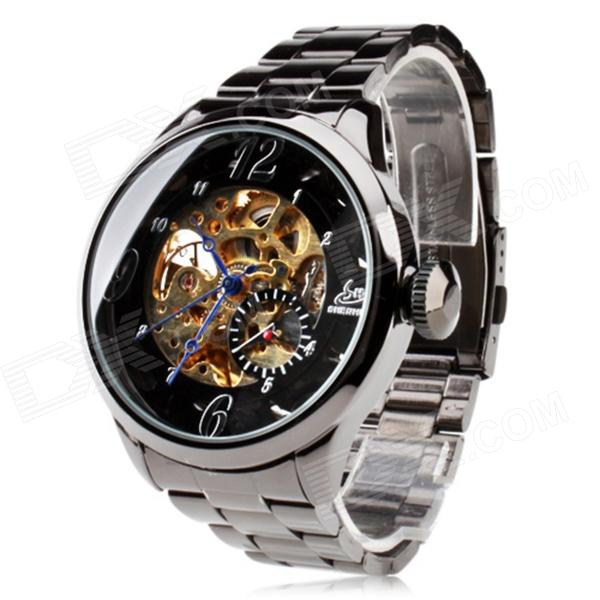 SH Y201 Men's Stainless Steel Automatic Mechanical Analog Wrist Watch - Silver + Black