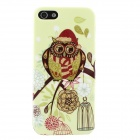 Shimmering Owl Christmas Hat Pattern Protective TPU Case for IPHONE 5 / 5S - Green + Multicolored