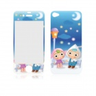 Angibabe Cute Cartoon Pattern Front and Back Tempered Glass Protectors Set for IPHONE 4 / 4S