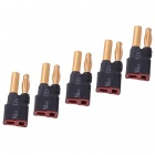 HJ T-Plug Female to Banana HXT 4.0mm Male Connectors Adapters for R/C Aircraft - Black (5 PCS)