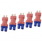 HJ EC3 Male to T-Plug Male Connectors Adapters for R/C Aircraft - Red + Blue