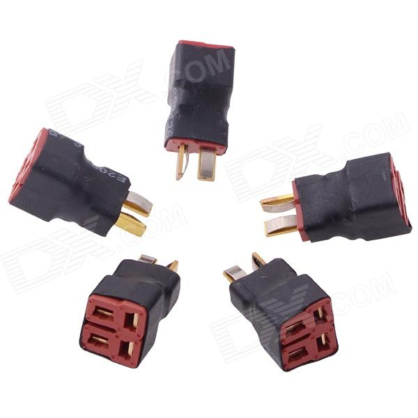 1M2F T Plug Parallel RC Battery ESC Connector Adapter - Black + Red (5 PCS) universal 38 t plug female to t plug male parallel connector red black brass