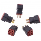 1M2F T Plug Parallel RC Battery ESC Connector Adapter - Black + Red (5 PCS)
