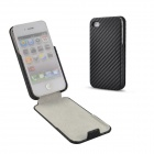 Angibabe Vertical Straw Mat Designed PU Leather Full Body Case for IPHONE 4 / 4S - Black