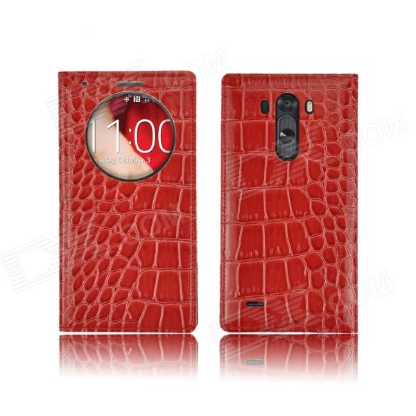 Angibabe Crocodile Pattern PU Leather Flip Open Case w/ View Window for LG G3 - Red angibabe crocodile pu ultrathin view window smart leather case for lg g3 brown