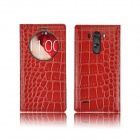 Angibabe Crocodile Pattern PU Leather Flip Open Case w/ View Window for LG G3 - Red
