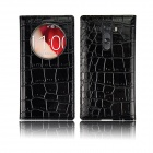 Angibabe Crocodile Pattern PU Leather Flip Open Case w/ View Window for LG G3 - Black