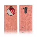 Angibabe Crocodile PU Ultrathin View Window Smart Leather Case for LG G3 - Pink