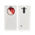 Angibabe Crocodile Pattern PU Leather Flip Open Case w/ View Window for LG G3 - White