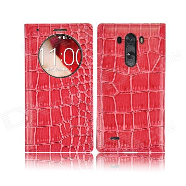 Angibabe Crocodile Pattern PU Leather Flip Open Case w/ View Window for LG G3 - Deep Pink angibabe crocodile pu ultrathin view window smart leather case for lg g3 brown