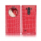 Angibabe Crocodile Pattern PU Leather Flip Open Case w/ View Window for LG G3 - Deep Pink