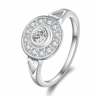 Fashionable Crystal Studded Silver Plating Ring - Silver (US Size 8)