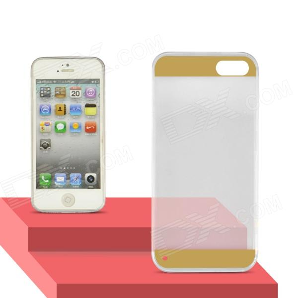 Angibabe Transparent 0.3mm Ultra Slim Soft TPU Gel Jelly Back Cover for IPHONE 5 / 5S -  Gold glossy jelly tpu gel case for iphone 6s 6 4 7 inch solid black