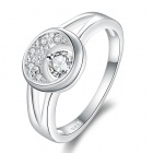 Stylish Crystal Studded Silver Plating Ring - Silver (US Size 8)