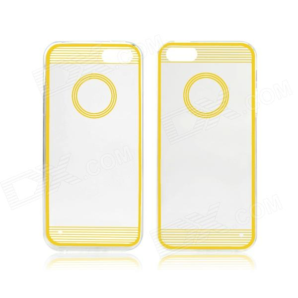 Angibabe 0.3mm Circle Acrylic Soft TPU Phone Back Cover for IPHONE 4 / 4S - Yellow + Transparent tpu edge acrylic back combo cover for iphone 7 4 7 lovely girl