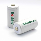 Soshine 5000mAh 1.2V C LR14 UM-2 Size Rechargeable Ni-MH Batteries - White (2 PCS)