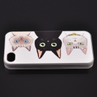 Three Little Cats Pattern Back Case for IPHONE 4 / 4S - Multicolor
