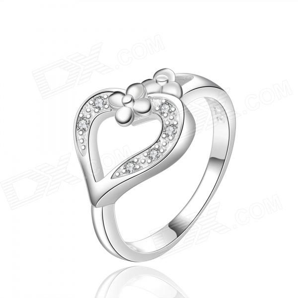 Stylish Heart Shaped Silver Plating Brass Ring - Silver (US Size 8)