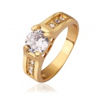 Elegant Women's Rhinestone Inlaid Ring - Gold (U.S Size 8)