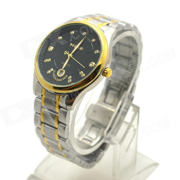 MIKE 326 Men's Business Casual Analog Quartz Wrist Watch w/ Calendar - Golden + Silver