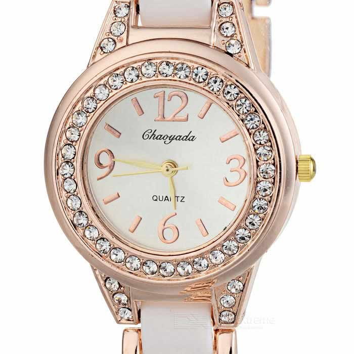 Chaoyada Fashionable Round Crystal Dial Analog Quartz Wrist Watch for Women - Golden + White