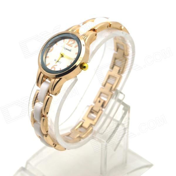 Chaoyada Fashionable Round Dial Analog Quartz Wrist Watch for Women - Golden + White